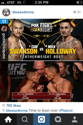 Max Holloway Instagram cub swanson