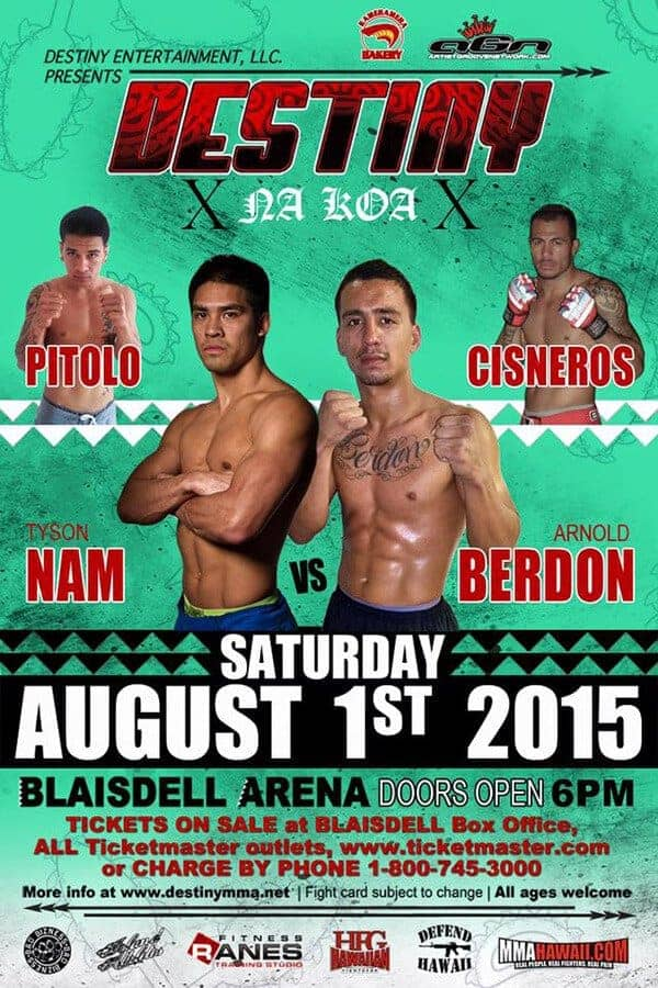 Professional Cage Fighting at the Blaisdell Arena Destiny MMA presents Na Koa 10