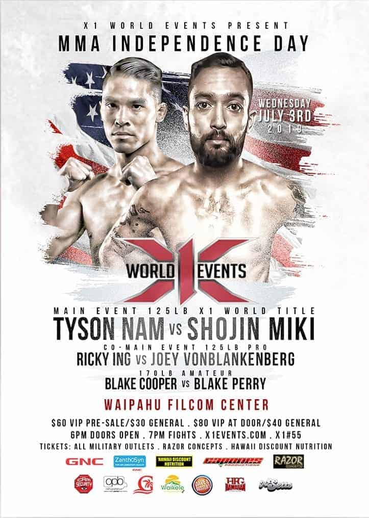 X1 55 MMA Fight in Hawaii, July 3. Filcom Center