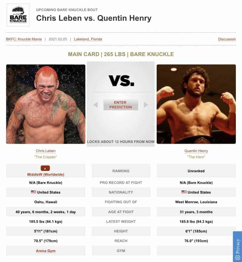 Chris Lebens vs Quentin Henry