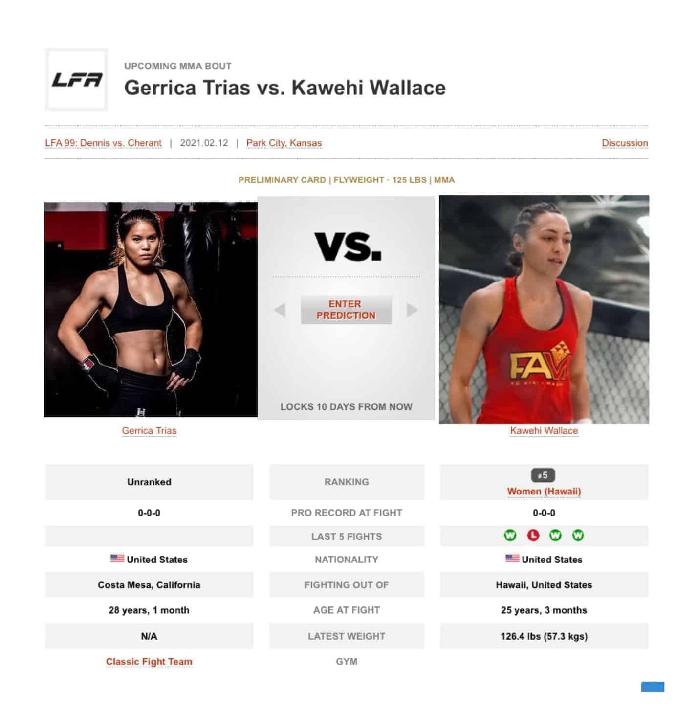 Gerrica Trias vs. Kawehi Wallace Prelims