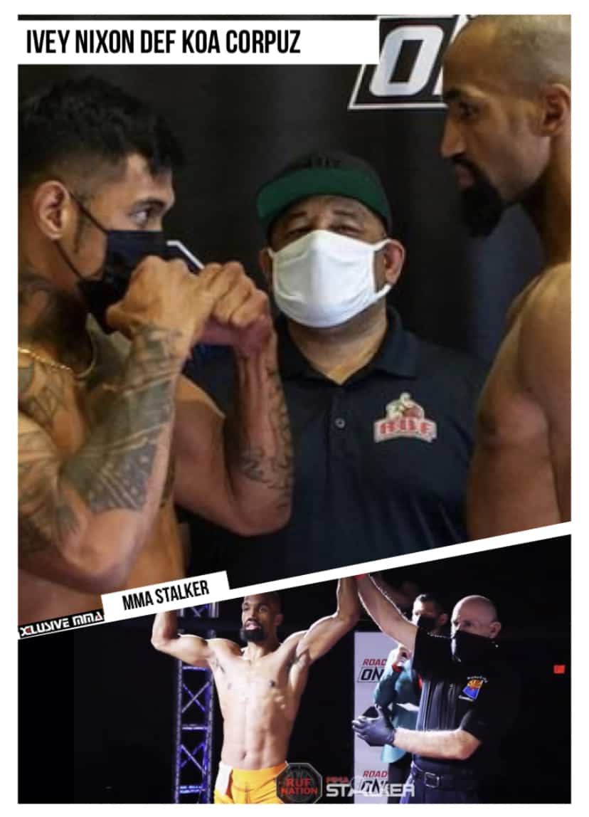 Ivey Nixon defeated Koa Corpuz at RUF MMA 39: Road to ONE