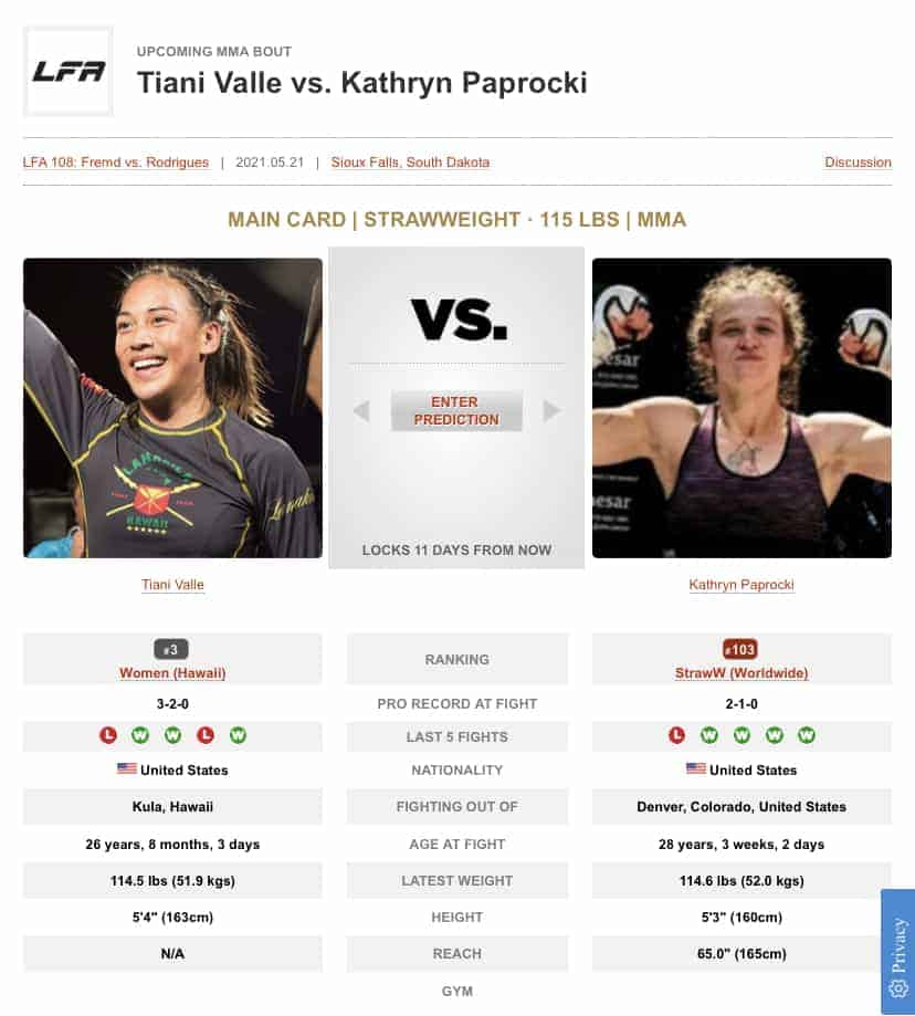Tiani Valle upcoming bout against Kathryn Paprocki on May 21, 2021